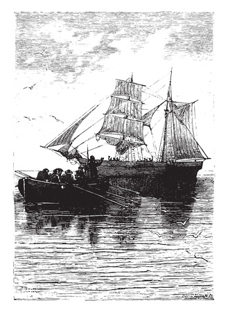 cried: Sleep well! cried the last time the captain, vintage engraved illustration.