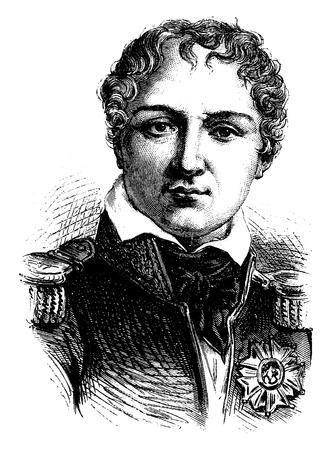 comandante: Gouvion Saint-Cyr, vintage illustrazione inciso. Storia della Francia - 1885. Vettoriali