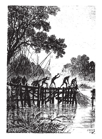 The natives, however, quickly hauled their nets, vintage engraved illustration. Иллюстрация