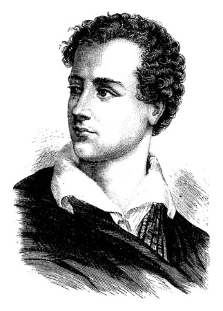 poet: Lord Byron, vintage engraved illustration. History of France – 1885.