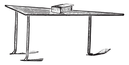 flat iron: Flat iron shaped copper table, vintage engraved illustration.