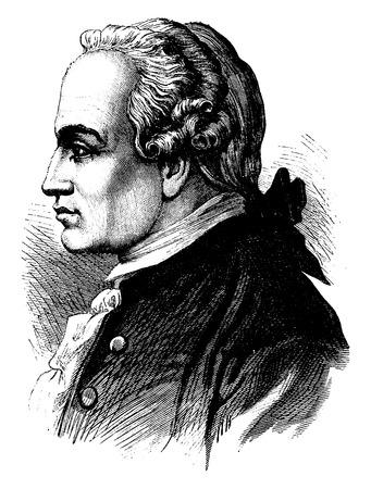 immanuel: Kant, vintage engraved illustration. History of France – 1885.