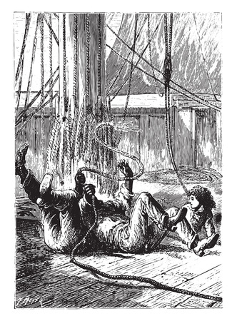 fell: All three fell to the overthrown, vintage engraved illustration.