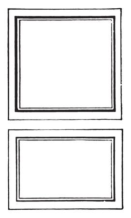 size: Proper size labels for labeling microscopic slides, vintage engraved illustration.