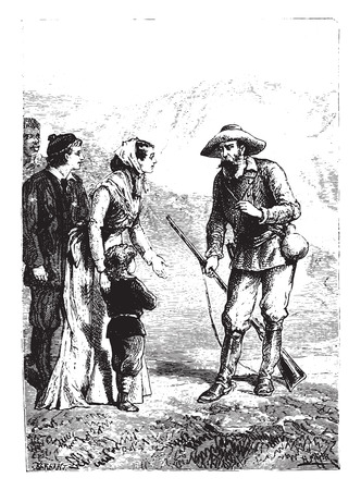 a charming: The charming little boy! said the American, vintage engraved illustration.