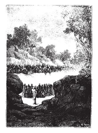 The pit then appeared distinctly, vintage engraved illustration. 向量圖像