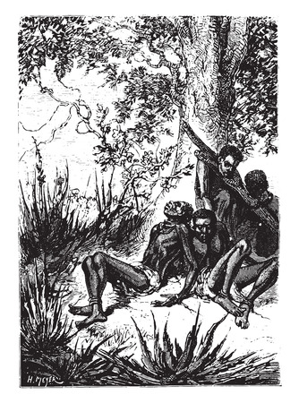 starving: On the leaves were starving, vintage engraved illustration.