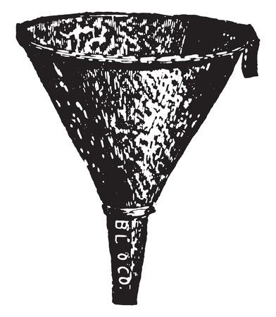 funnel: Agateware funnel for filtering hot fluid, vintage engraved illustration. Illustration