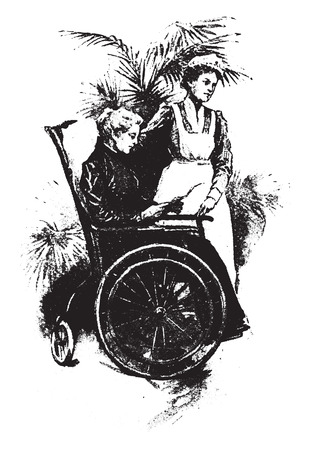 patient: The patient is out in the sun all day long on a cot or in chair, sun bath is of great value, vintage engraved illustration.