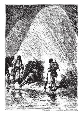 Dick and his companions slipped it, vintage engraved illustration. Ilustração
