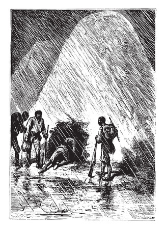 companions: Dick and his companions slipped it, vintage engraved illustration. Illustration