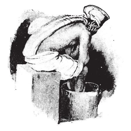 columna vertebral: Fomento a la columna vertebral y el ba�o de pies caliente combinado, ilustraci�n de la vendimia grabado.