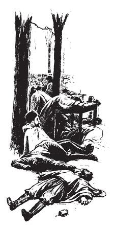 Thousands of the drinkers had been frozen to death, vintage engraved illustration. Illusztráció