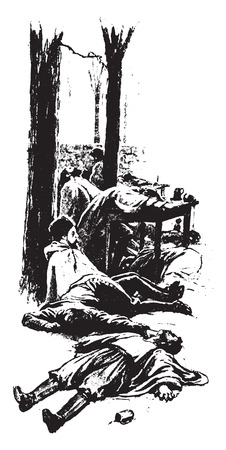 man lying down: Thousands of the drinkers had been frozen to death, vintage engraved illustration. Illustration