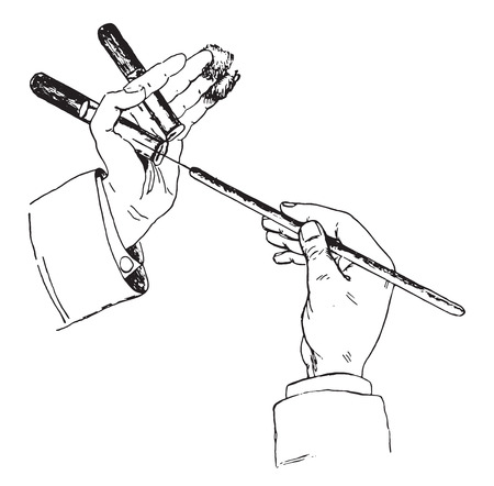 solid wire: Method of holding tube, cotton and platinum wire while inculcating solid media, vintage engraved illustration.