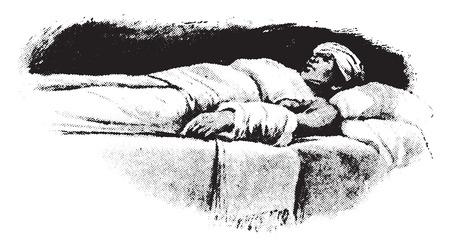 Compress, illustration application to head, heart, abdomen, and arm, vintage engraved illustration. Illustration