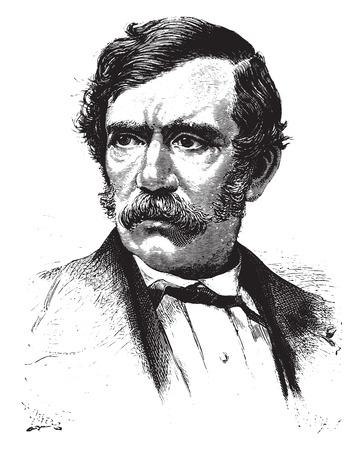 David Livingstone, vintage engraved illustration.