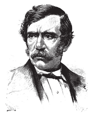 missionary: David Livingstone, vintage engraved illustration.