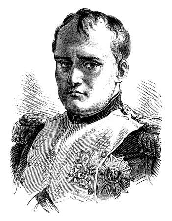 Napoleon, vintage engraved illustration. History of France – 1885. Vettoriali