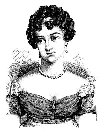 Comtesse Cayla, vintage engraved illustration. History of France – 1885.  イラスト・ベクター素材