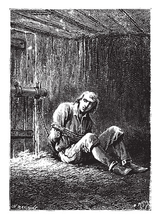 barrack: Dick Sand, closely makes, was deposited at the bottom of a barrack, vintage engraved illustration.