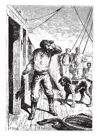 vessel: Not without a menacing gesture at the dog had escaped him, vintage engraved illustration.