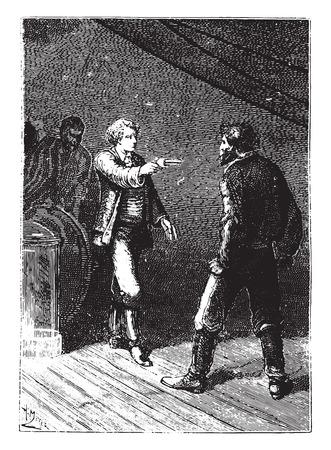 novice: The novice took from his pocket a revolver, vintage engraved illustration.