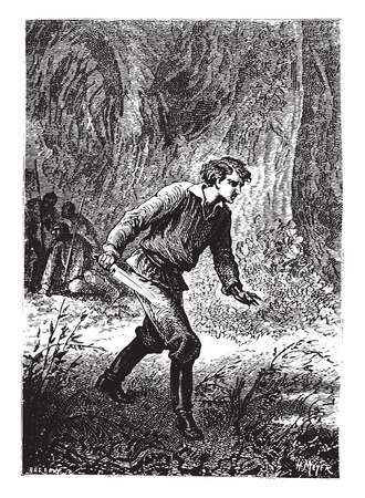 cutlass: Dick Sand rushed, cutlass in hand, vintage engraved illustration.