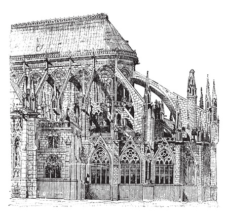 notre: Apse, vintage engraved illustration. Dictionary of words and things - Larive and Fleury - 1895.