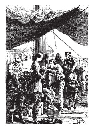 The most anxious care was provided to the shipwrecked, vintage engraved illustration. Иллюстрация
