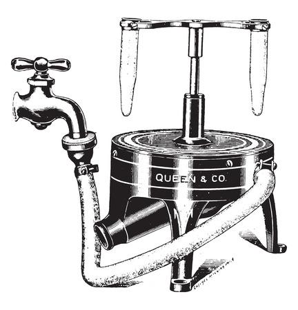 inch: Water centrifuge, vintage engraved illustration. Illustration