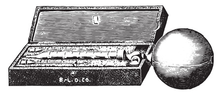 hypodermic needle: Syringe for hypodermic, intraperitoneal and other injection methods for inoculating animals, vintage engraved illustration.