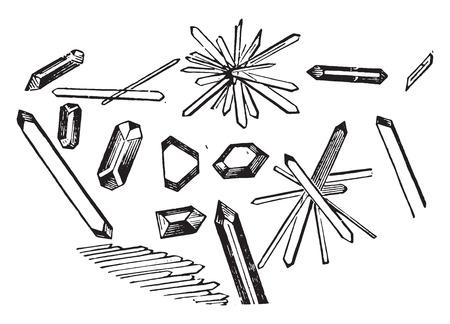 Hippuric acid, four sided prism with two or four beveled edges, vintage engraved illustration.