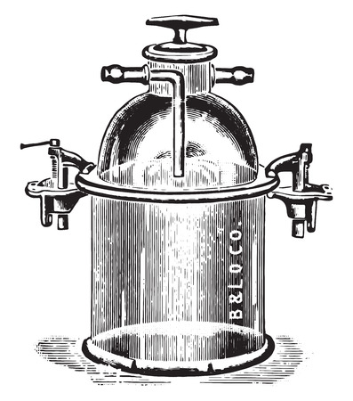 anaerobic: Apparatus for anaerobic cultivation of plates and test tubes, vintage engraved illustration. Illustration