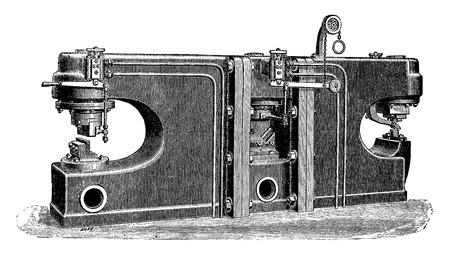 Hydraulic shears, vintage engraved illustration. Industrial encyclopedia E.-O. Lami - 1875.