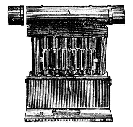Front view of the tube bundle, vintage engraved illustration. Industrial encyclopedia E.-O. Lami - 1875.