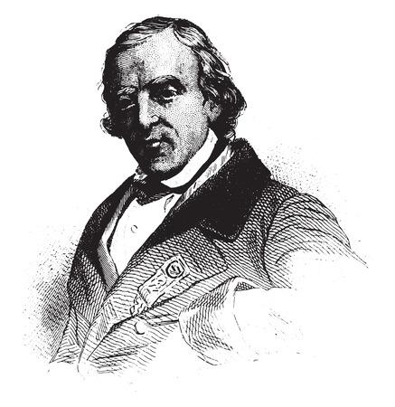 old man portrait: Francois-Vincent Raspail, Representative to the constituent, vintage engraved illustration.