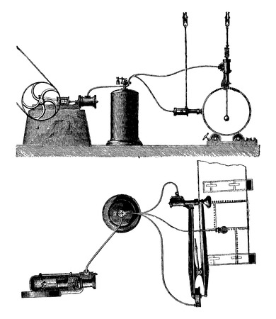 compressed: Exterior view and plan the installation of a portable compressed-air riveter, vintage engraved illustration. Industrial encyclopedia E.-O. Lami - 1875.