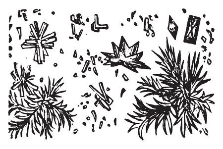 amorphous: Indigo, vintage engraved illustration.