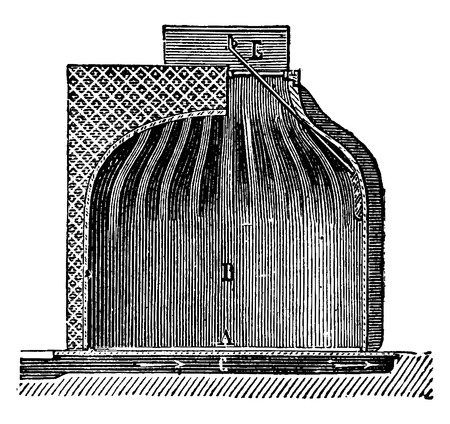 Fireplace chimney shell for ordinary, vintage engraved illustration. Industrial encyclopedia E.-O. Lami - 1875. Ilustração