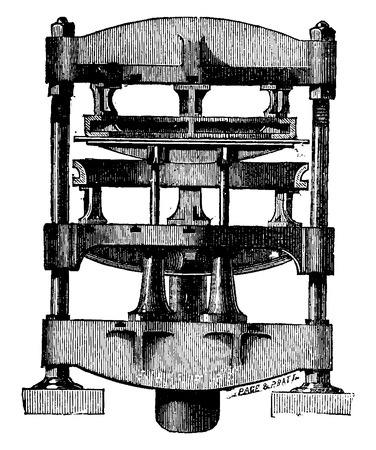 Press to fold the edges of the tube sheets, vintage engraved illustration. Industrial encyclopedia E.-O. Lami - 1875. Vectores