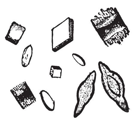 irregular: Whetstone and irregular crystals of uric acid, vintage engraved illustration. Illustration