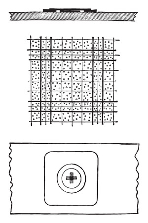 chamber: Counting chamber of Thoma-Zeiss hemocytometer, vintage engraved illustration. Illustration