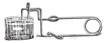 forceps: Cover glass forceps, vintage engraved illustration.