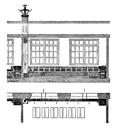 Heating a school room, vintage engraved illustration. Industrial encyclopedia E.-O. Lami - 1875.