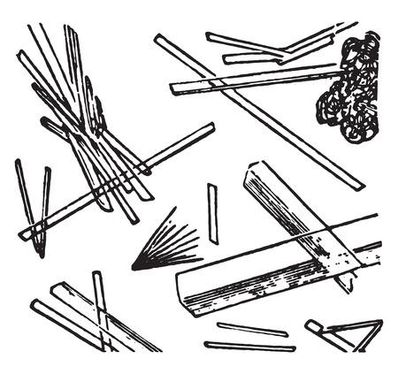 elongated: Calcium sulphate, elongated transparent needles or tablets, vintage engraved illustration.