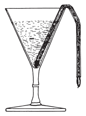 Conic glass suitable for the sedimentation of urine, vintage engraved illustration. Çizim