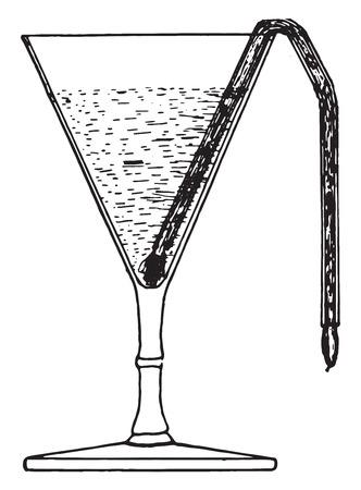 urine: Conic glass suitable for the sedimentation of urine, vintage engraved illustration. Illustration