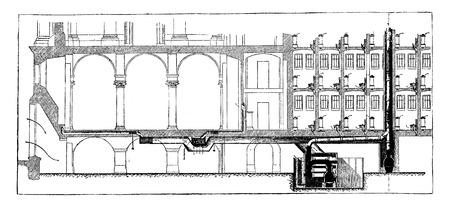 installation: Longitudinal section of the installation of hot water heating, vintage engraved illustration. Industrial encyclopedia E.-O. Lami - 1875. Illustration