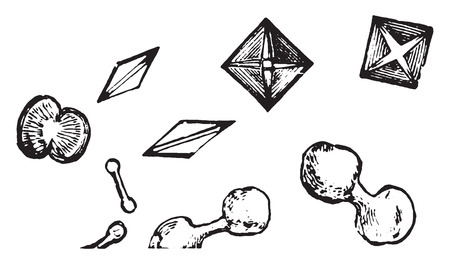 Dumbbell and octadehdral crystals of calcium oxalate, vintage engraved illustration. Illustration